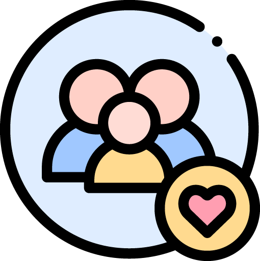 icon with two adults and a child and a heart symbol