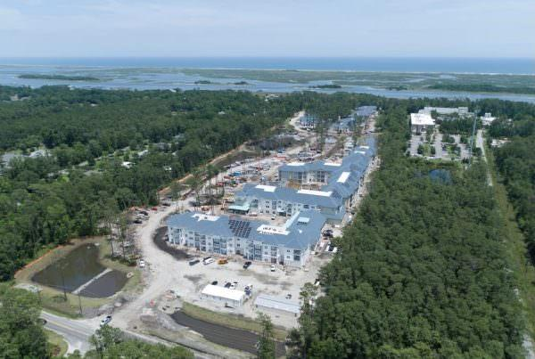 Aerial view of construction on Intracoastal Waterway